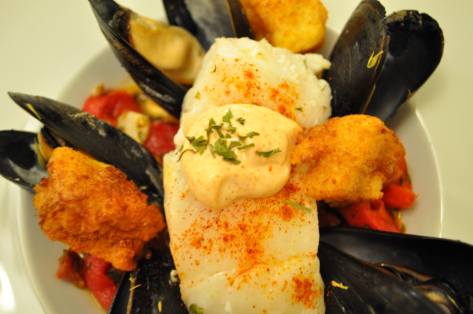 with Friends: Cod with Mussels, Chorizo, Croutons and Saffron Mayo