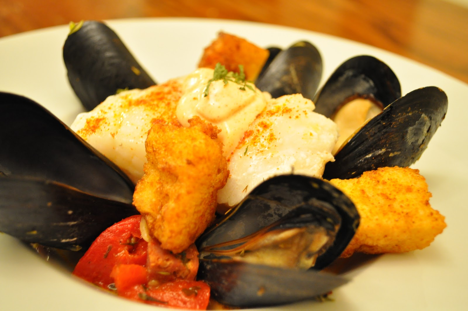 ... with Friends: Cod with Mussels, Chorizo, Croutons and Saffron Mayo