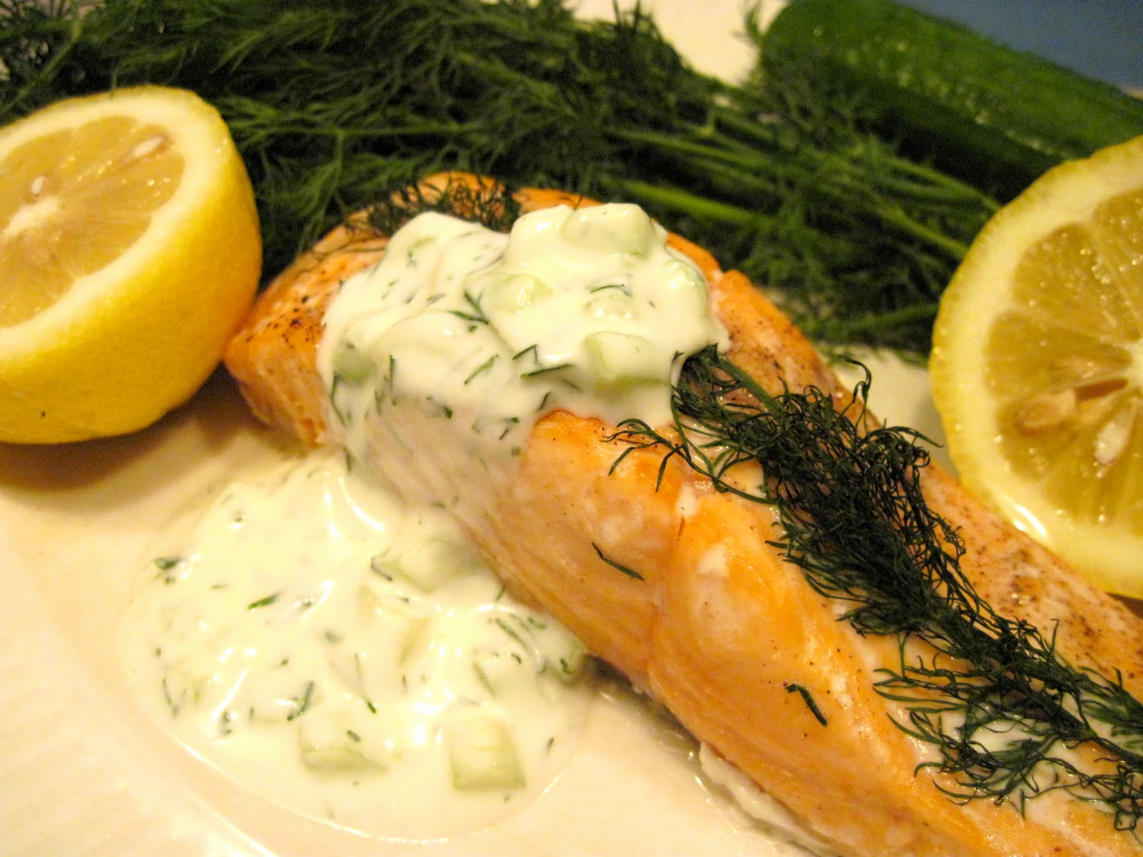 ... . Eat. Enjoy. Repeat.: Oven Roasted Salmon with Cucumber Dill Sauce