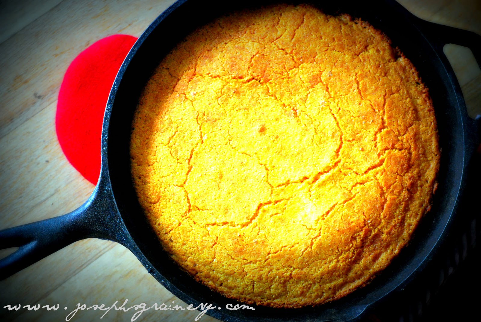 Skillet Cornbread made with Joseph's Grainery Whole Wheat Flour