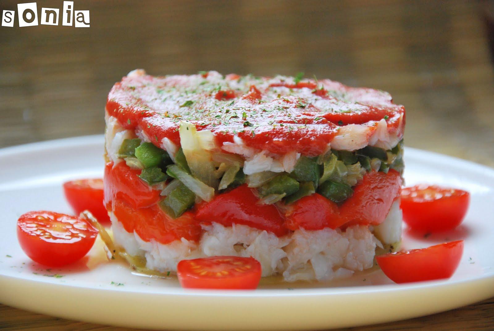 Timbal frio de bacalao y pimientos l 39 exquisit for Cena fria para amigos