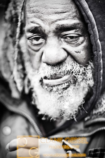 a blind homeless man in seattle's pioneer district