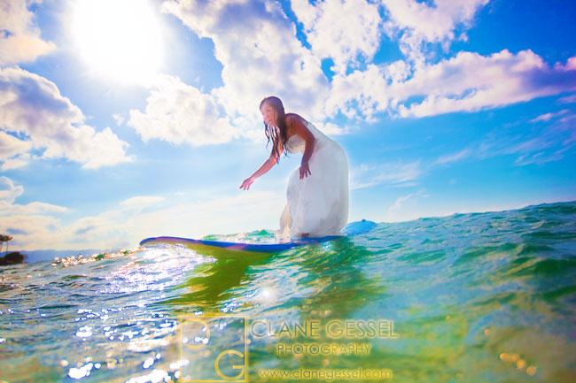 surfing wedding trash the dress hawaii oahu