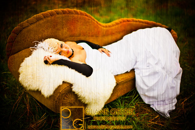 Krista moser as a bride on a fainting couch in a field near snohomish, wa