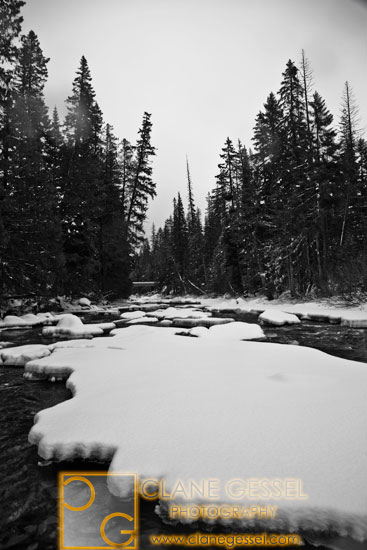 Snowshoeing on the Wenatchee river in the winter