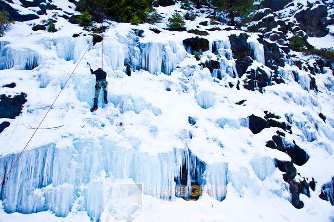Ice climbing in the Cascade Mountains near Yakima, WA