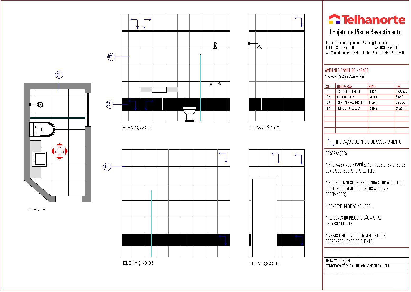 Projeto de paginação de um banheiro #18077A 1558 1106