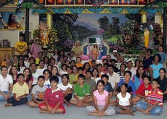 Hurricane evacuees at Barsana Dham