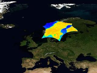 Imagen del brillo de la temperatura en Escandinavia. ESA