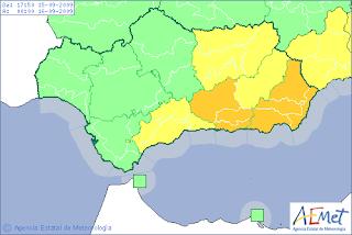 Almeria en alerta naranja por lluvias y tormentas. AEMET