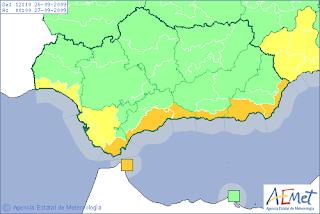 Alerta por fuertes tormentas en Almeria. AEMET