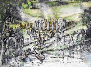 Interpretación artística del llamado Bluestonehenge provista por la Universidad de Manchester - AP