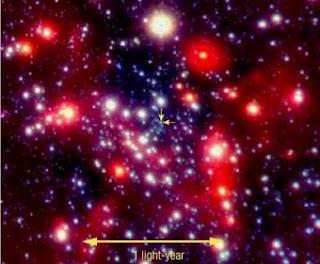 Los dos años-luz centrales de la Vía Láctea. Las flechas marcan el lugar donde se encuentra un agujero negro de cuatro millones de masas solares- NAOS-CONICA / ESO / R. SCHÖDEL Y COLABORADORES