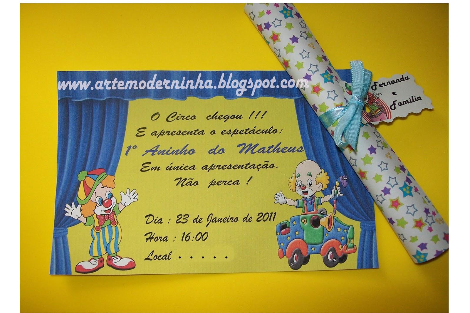 Convite Circo Enroladinho