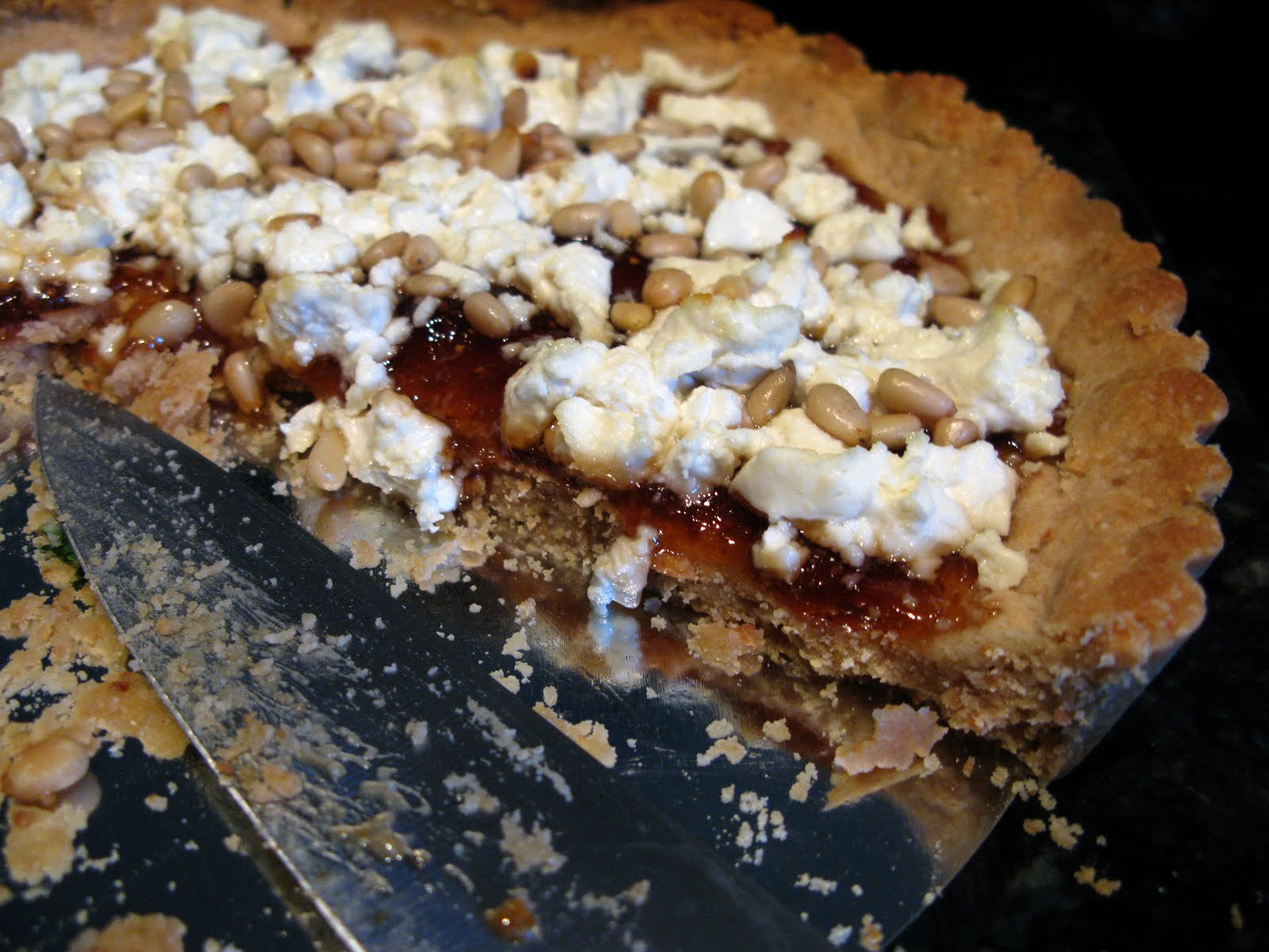 ... that and she cooks, too: Fig and goat cheese tart with arugula salad