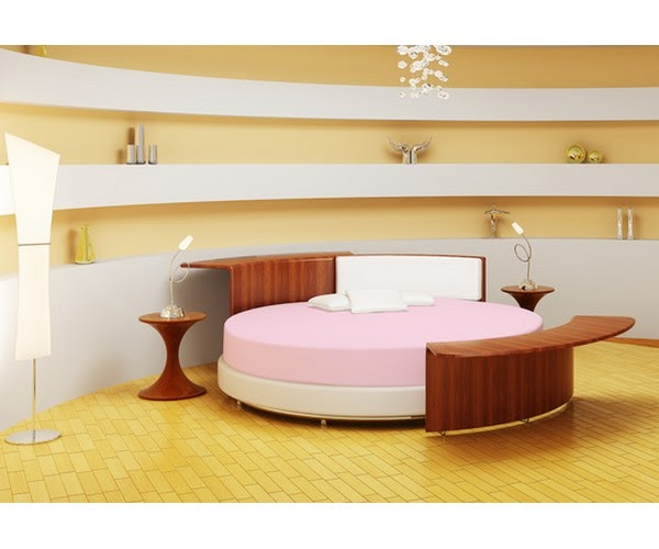 Linge de lit rond les draps housse rond en coton - Drap housse pour lit rond ...