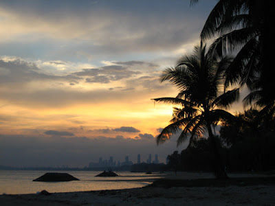 Sunset view in Parkview Hotel neighborhood in Beach Road, Singapore