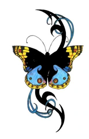 black and white butterfly tattoos. flower utterfly tattoo.