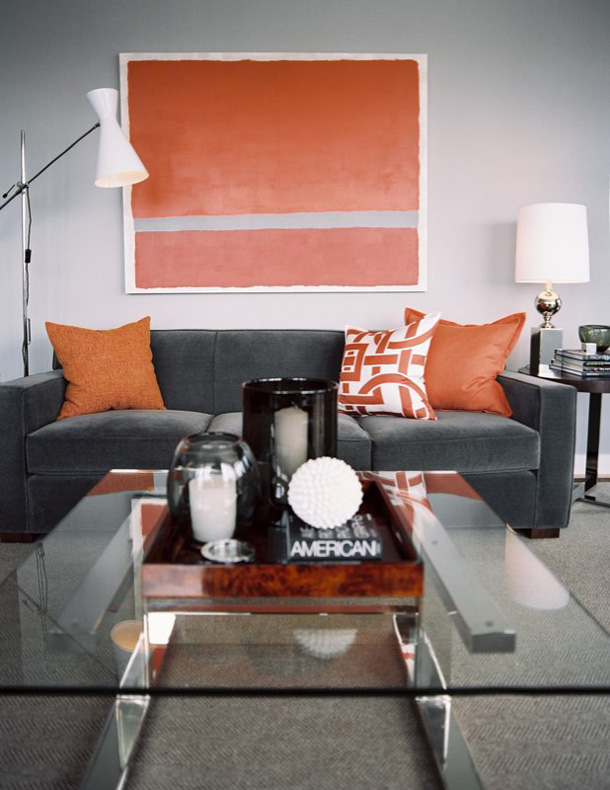 Sarah mcallister creative styling gray and orange for Grey and orange living room ideas