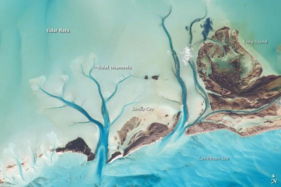 Tidal Flats and Channels, Long Island, Bahamas - NASA EO
