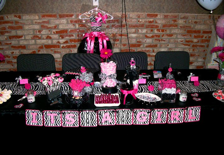 Pink zebra baby shower a to zebra celebrations for Animal print baby shower decoration ideas