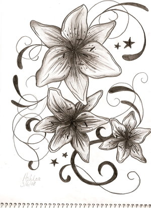 stargazer lily tattoo. pink lily tattoo under the
