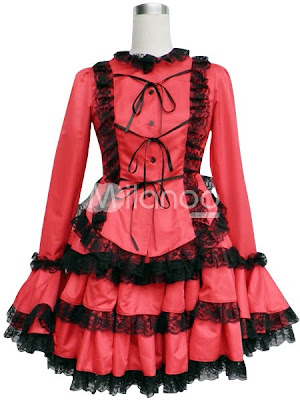 Como evitar ser una Ita.   Red-Cotton-Polyester-Long-Sleeves-Multi-Layer-Cosplay-Lolita-Dress-34219-1
