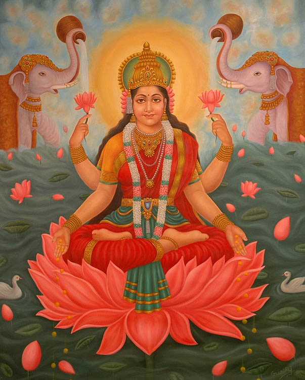 "Namaha"" invokes Lakshmi, the Hindu goddess of abundance and prosperity."