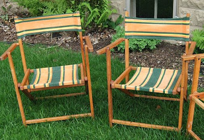 Vintage wooden lawn chairs.