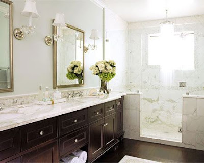 Love This One Dark Floor Next To The Marble Tile Shower Is Delish Also Double Vanity Totally Key In A Master Bath