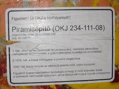okj, piramisépítő tanfolyam, piramisépítés,Budapest, Károly körút, belváros, V. kerület, reklám