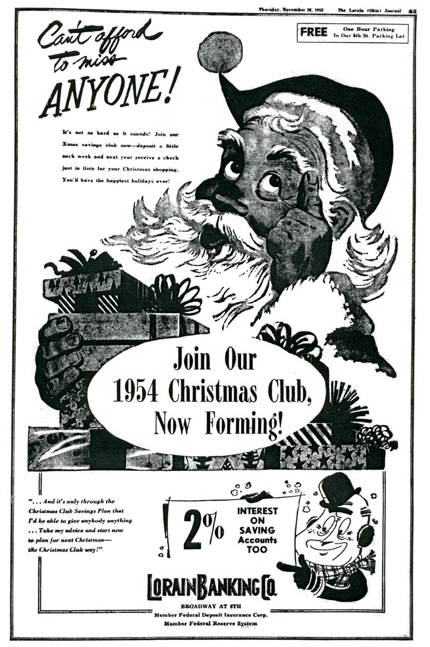 1953 lorain banking company christmas club - Christmas Club Accounts