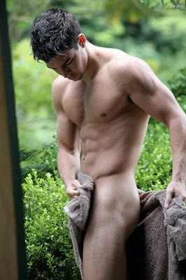 gaydreamblog gay hot frat boy in red briefs shower in garden and gets wet