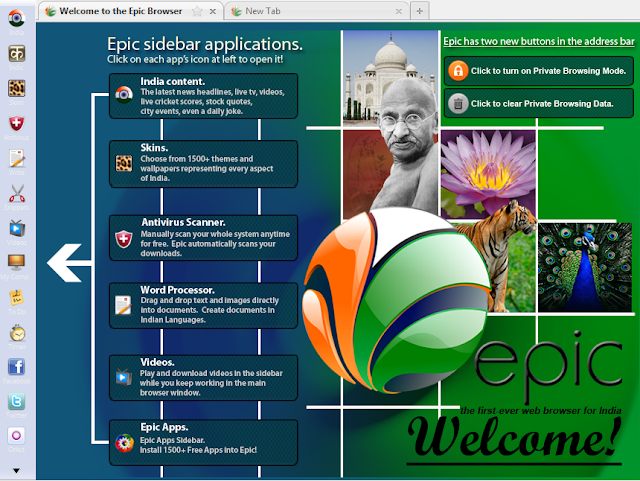 MySearchHistory: Epic Browser - Welcome Screen