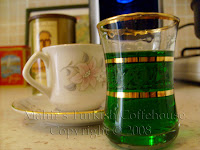Turkish coffee with creme de menthe