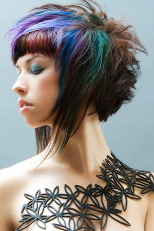 two colored hairstyles. hairstyles color highlights.