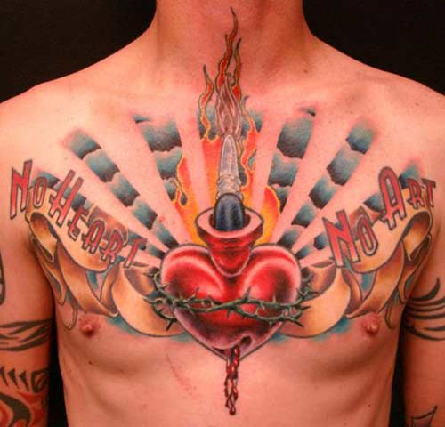 This is an awesome gunshot chest tattoo, or should I say tattoos of