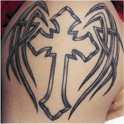 This well designed black cross/skull tattoo with a light pink touch needs 2