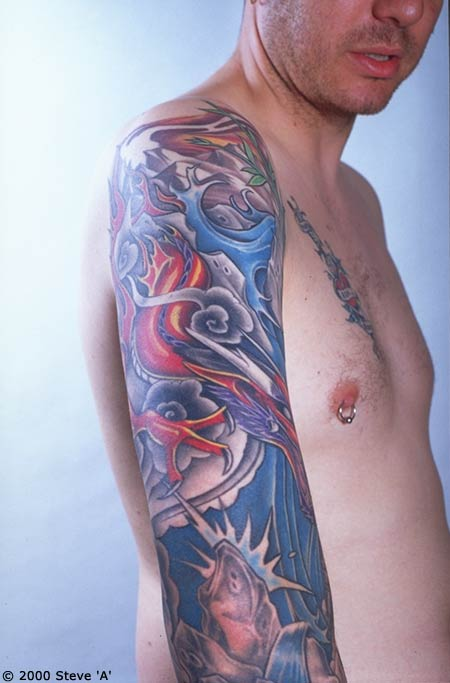 water tattoo designs. Japanese Sleeve Tattoo Design.