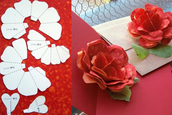 tarjetas de rosas en papel lodijoella