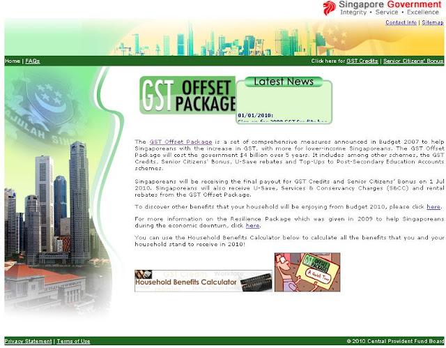 Www.GSTOffset.gov.sg - GST Credits 2010 - GST Credits Singapore
