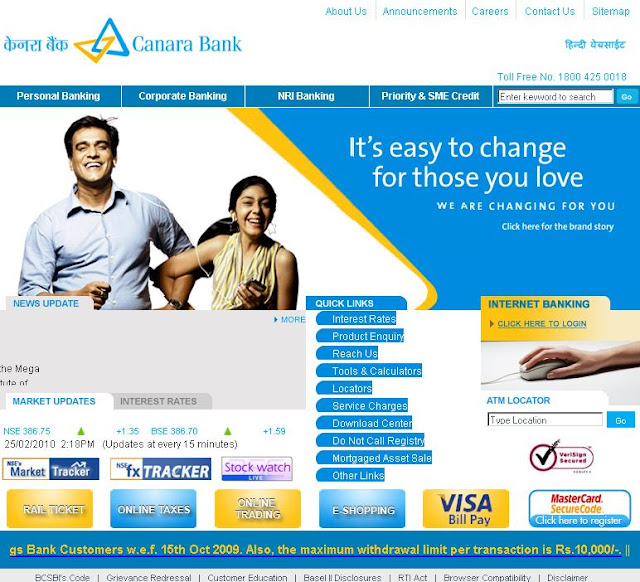 www.canarabank.com - Canara Bank Net Banking - Online Internet Banking