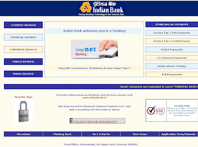 Indian Bank Net Banking Login - Internet banking Online at Indianbank.net.in