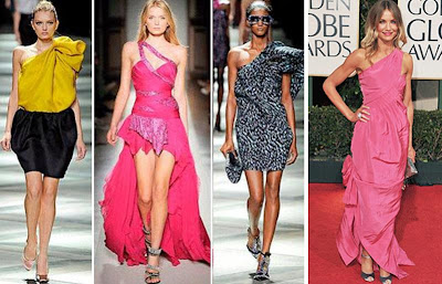 2009 en moda asimetrik elbise