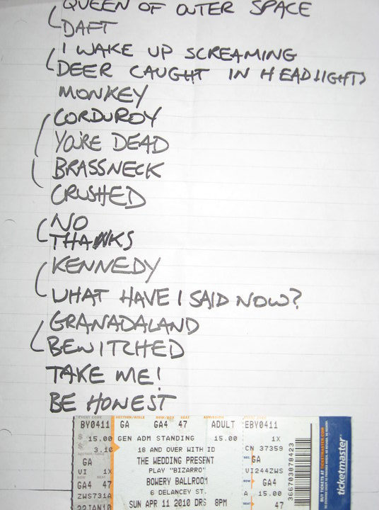 Wedding Present Setlist : The Wedding Presents Bizarro Barmy Army 2010 US Tour (Part Three)
