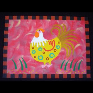 Yellow Rooster on Red - Sold