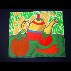 Teapot and Veggies - Sold