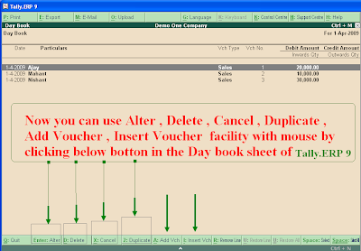 Alter and Delete Voucher entries by Click in Tally.ERP 9