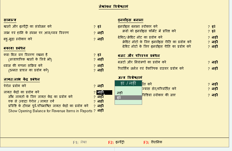 Set Features Of Tally Erp 9 In Hindi Accounting Education