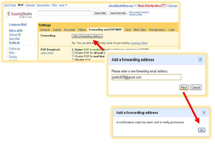 Forward Button in Gmail Forwarding Address Button